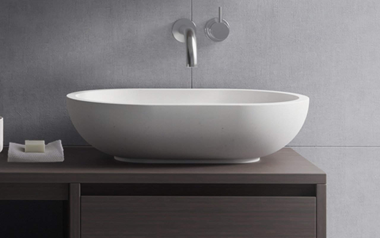 Aquatica Karolina-2-Wht Oval Stone Bathroom Vessel Sink picture № 0