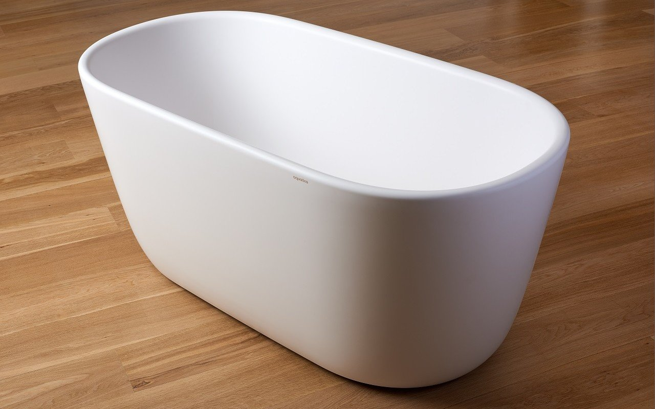 Lullaby Wht Small Freestanding Solid Surface Bathtub by Aquatica web 0035
