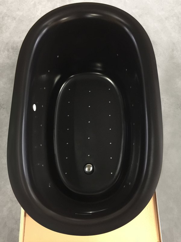 Aquatica Sophia Black Relax Air Massage Freestanding Solid Surface Bathtub Fine Matte Customer Images 02 (web)