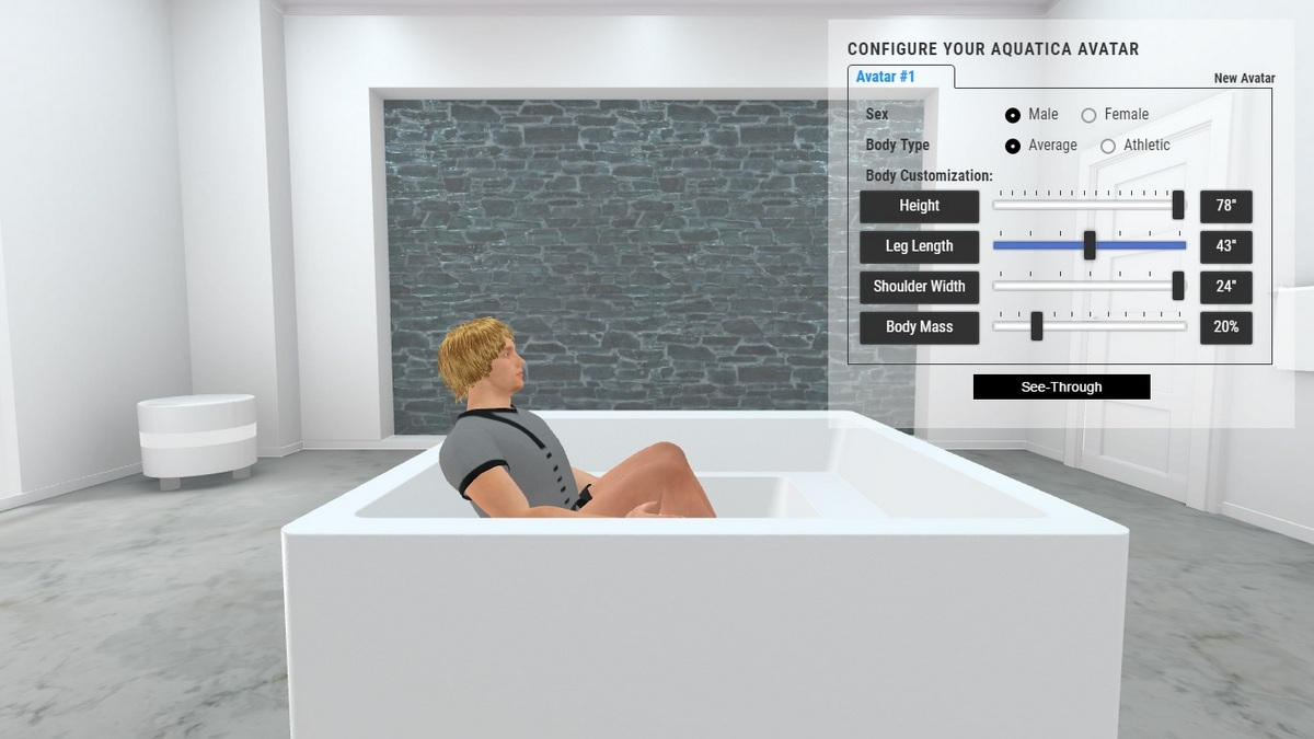 Lacus Drop in Bathtub 3D Body Position