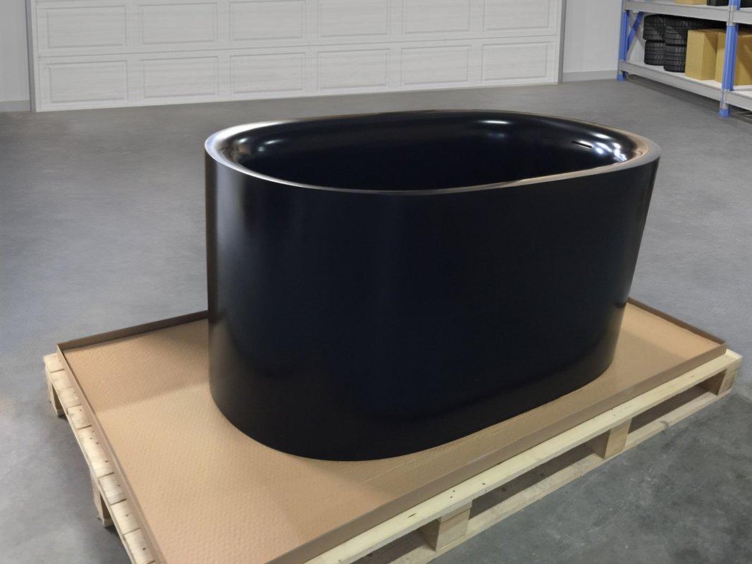 Sophia Black Freestanding Solid Surface Bathtub Fine Matte Customer Images 02 (web)